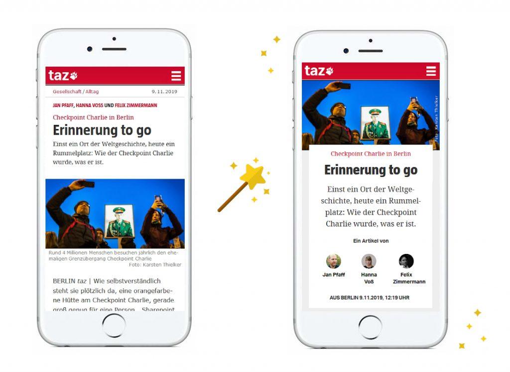 Links die alte mobile Darstellung von langen Texten, rechts die neue