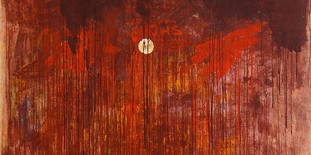 Hermann Nitsch: Brot und Wein, Tempera und Dispersion auf Wandverputz, 150 x 150 cm, 1960, Sammlung Hummel, Wien / Foto: M. Thumberger