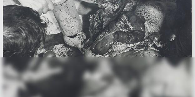 Hermann Nitsch: 20. Aktion, München 1969 / Angaben zum bearbeiteten Foto im Katalog »Hermann Nitsch. Sinne und Sein« (Metroverlag): L. Armbruster, L. Hoffenreich, K. Nievers, Atelier Nitsch, M. Thumberger, Vintageprint auf Holzfaserplatte