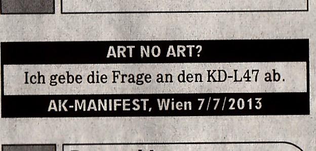 Manifest ART NO ART Süddeutsche Zeitung 2. August 2013 Image 1 copyright alexander kreise